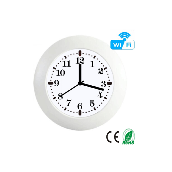 HD 1080P Wall/Desk Clock Security Wi-Fi Camera White